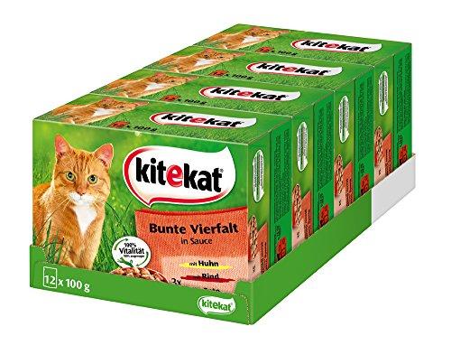 Kitekat Katzenfutter Bunte Vierfalt in Soße, 48 Beutel (4 x 12 x 100 g)