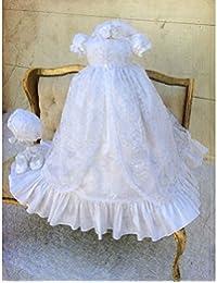 dressvip bautizo vestidos de novia de encaje blanco con a juego gorro para bebé