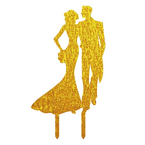Love durch Augen Hochzeit Tortenaufsatz Acryl Shining Bride Groom Engagement Jahrestag Kuchen Dekoration, gold (Dr Seuss Cupcake Toppers)