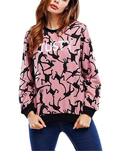 AILIENT Camicetta Donna Manica Lunga Con Rotondo Collo T Shirt Buse E Camicie Eleganti Camicia Stampate Bluse Maglie Tops Casual Pullover Red