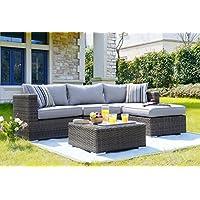 Set giardino LAS PALMAS in polyrattan e alluminio composto da divano angolare, un pouf e un tavolino