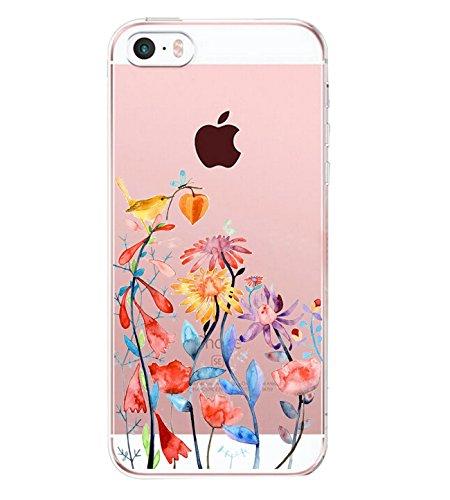 iPhone SE Hülle Silikon Ultra dünn Transparent iPhone 5S iPhone 5 Pacyer ® Handyhülle Durchsichtige Rückschale TPU Schutzhülle für Apple iPhone SE / 5S / 5 Case Cover Mädchen Geschenk Blumen (3)