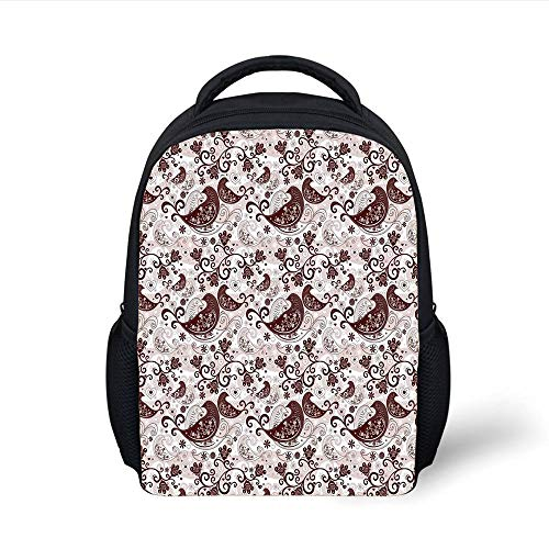 Kids School Backpack Paisley,Arabesque Oriental Bird Figures Floral Heart Forms Lines,Light Pink Chestnut Brown Plain Bookbag Travel Daypack -