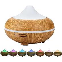 HALOViE 500ml Humidificador Aromaterapia Ultrasónico Difusor de Aceites Esenciales 7-Color LED y 4 Ajustes de Tiempo Perfecto para la habitación de los niños, bebés, hogar, salón, dormitorio, oficina ,Yoga ,Spa ,Oficina ,Baño etc