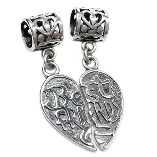 Queenberry in argento Sterling, motivo: Best Friend Forever l'insieme, a forma di cuore con pendente, per Pandora, Biagi, Troll, Chamilia europea Charm Bracelets