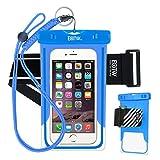 EOTW Funda Impermeable IPX8 Universal para Deportes acuaticos para iPhone XS MAX/XS/XR, 8P/8/7P/7/6/6S +, Samsung S6/Edge/S5/S4 hasta 7 Pulgadas. (Azul con Band)