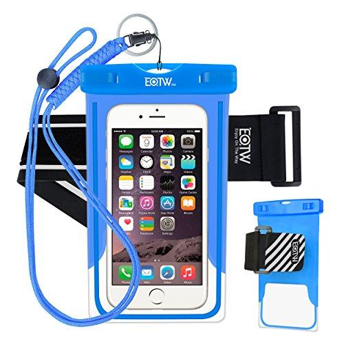 EOTW Custodia Impermeabile ipx8Universale per Sport Acquatici per iPhone 6/6S +, Samsung S6/Edge/S5/S4Fino a 6Pollici, Blu e Bracciale