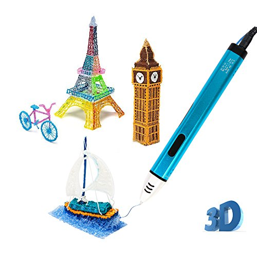 Uvistare 3D Drucker Stift Set 3D Stereoscopic Printing Pen Drawing, 3 x 3M PLA Filament ( Blau Rot...