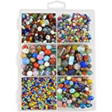 ESHOPPEE Handmade lampwork Fancy Glass Beads and Seeds for Jewellery Making Art and Craft DIY kit, 400gm (Multicolour)