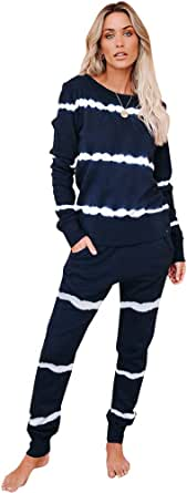ANUFER Donna Casuale Manica Lunga Tuta Sportiva 2 Pz Lunghezza Intera Loungewear Set Top + Jogger