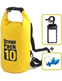 Impermeable ligero plegable almacenamiento organizador bolsa mochila funda con correa 5L 10L 15L 20L para deportes al aire libre Senderismo + Uno par de Tapones de siliconeear Natación + Nose Plug