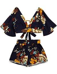 SHOBDW Dos piezas conjunto de las mujeres botánica impresión V collar Top shorts beachwear