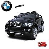 BMW X6 Kinder Elektroauto Deluxe-Edition, 2.4GHz Fernbedienung, Multifunktionslenkrad, MP3-Anschluss, realistischen Soundeffekten, 12V Powerakku und 2x35W starker Motor, 2 Speed, und vieles mehr (Schwarz)
