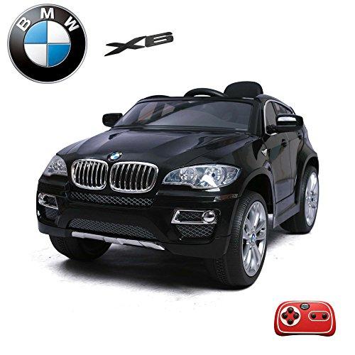 Preisvergleich Produktbild BMW X6 Kinder Elektroauto Deluxe-Edition, 2.4GHz Fernbedienung, Multifunktionslenkrad, MP3-Anschluss, realistischen Soundeffekten, 12V Powerakku und 2x35W starker Motor, 2 Speed, und vieles mehr (Schwarz)