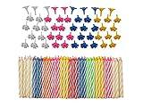 décoratifs 152PC Ensemble de bougies d'anniversaire avec supports faciles à utiliser Ange flammes colorés avec gâteau d'anniversaire Bougies de fête–Multicolore