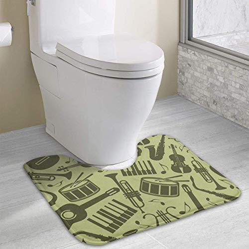 Hoklcvd Music Instruments U-Shaped Toilet Floor Rug Non-Slip Toilet Carpets Bathroom Carpet