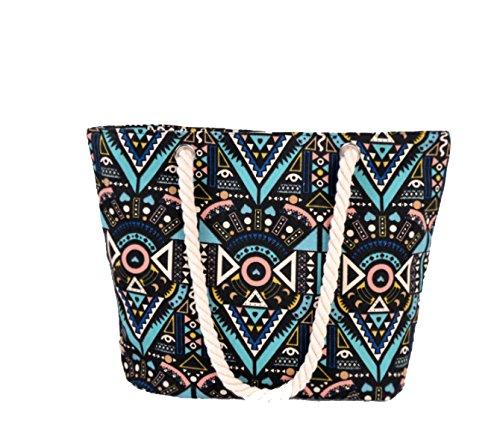 Multi-funzionale Motivi Geometrici Delle Donne Di Stile Boemia Vacanze Beach Bag Borsa Casual Black