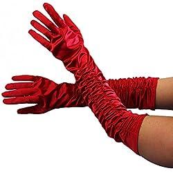 Foxxeo Guantes Largos Deluxe - En los Colores Negro Blanco Blanco Rojo - Blanco Brillante Largo Negro a Rojo 20 años Traje de Mujer, Talla: XL; Color Rojo