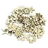 Sharplace 50 Stück Holzherzen Holz Verzierung für Hochheitsdeko Tischdeko Streudeko DIY Handwerk - Blume Formen - 5