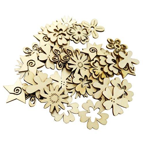 50pcs fiori di legno abbellimento incompiuto artigianato per bottoni da cucire, regalo tag mestiere