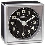 Seiko Silver-Tone Black Dial Bedside Alarm Clock