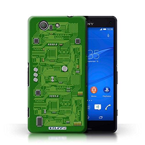 Kobalt® Imprimé Etui / Coque pour Sony Xperia Z3 Compact / Rouge conception / Série Circuit Board Vert