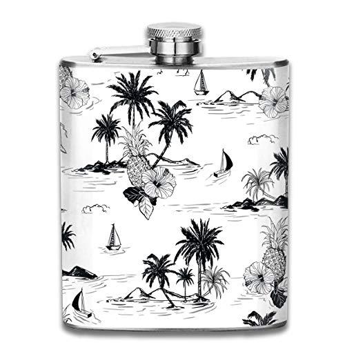 Miedhki 7OZ Stainless Steel Flask, Unique Island Hawaiian Pattern Hip Flask, Flasks for Mens and Womens (Gläser Bulk Gravierte)