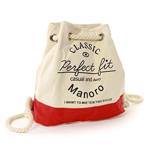 Manoro Rucksack Handtasche Canvas weiß, rot Rucksackhandtasche City-Rucksack Strandtasche Schultertasche Vintage and Vogue OTK216R Vintage Und Vogue