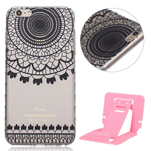 Ekakashop Coque pour Apple iphone 6 Plus/6s Plus (5.5 Pouces), Ultra Slim-Fit Flexible Souple Housse Etui Back Case Cas en Silicone pour iphone 6s Plus, Soft Cristal Clair TPU Gel imprimée Couverture  Dream Catcher Noir