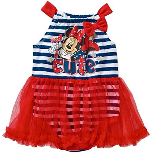 Disney Minnie 4th of July Baby Girls Tutu Skirted Bodysuit Dress Up Outfit (18 Months)