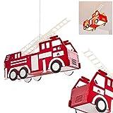 Kinder Pendelleuchte Praya aus Kunststoff rot, Feuerwehr Auto Hängeleuchte für Kinderzimmer, Spielzimmer, Jugendzimmer