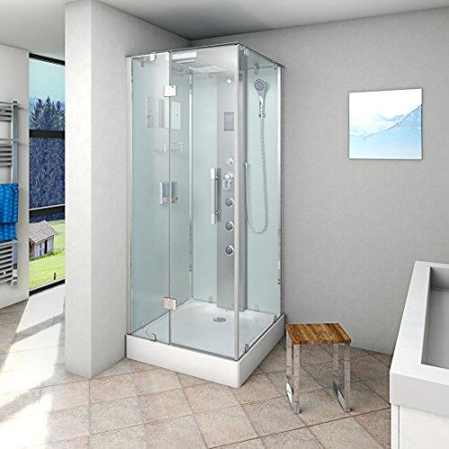 AcquaVapore DTP6038-2000L Dusche Duschtempel Komplett Duschkabine 100x100, EasyClean Versiegelung der Scheiben:2K Scheiben Versiegelung +99.-EUR