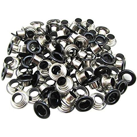 Amanaote 5 mm diámetro del orificio interior de esmalte negro con ojales ojal arandela de 200 unidades de respaldo