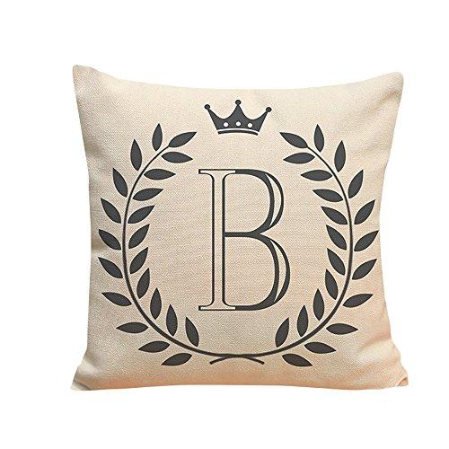 Xmiral Kissenbezug Englisches Alphabet Muster Baumwolle Leinen Pillowcase Zierkissenbezüge(B) -