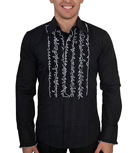 70er Jahre Hemd schwarz mit weißen Rüschen XL