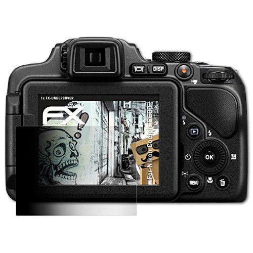 atFoliX Blickschutzfilter kompatibel mit Nikon Coolpix P600 Blickschutzfolie, 4-Wege Sichtschutz FX Schutzfolie (Nikon P600 Kamera)