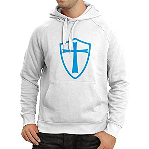 Sweatshirt à capuche manches longues Chevaliers Templiers - Chevalier des Templiers (XXX-Large Blanc Bleu)