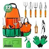 UKOKE Set di attrezzi da giardino in alluminio con grembiule, tasca portaoggetti e maniglia ergonomica per uomo 12 Pezzi Arancia