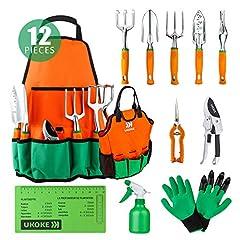 Idea Regalo - UKOKE Set di attrezzi da giardino in alluminio con grembiule, tasca portaoggetti e maniglia ergonomica per uomo 12 Pezzi Arancia