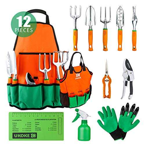 UKOKE Aluminum Hand Garden Tool Kit with Apron, Storage Pocket and Ergonomic Handle for Women Men 12 Piece Orange