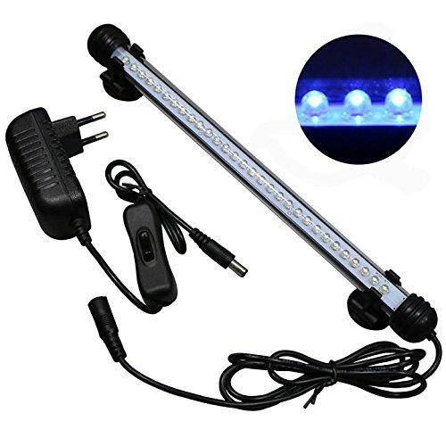 Mingdak LED Aquarium-Licht-Kit für Fischtank, Unterwasser-Tauchkristallglas-Leuchten, geeignet für Salzwasser und Süßwasser, 30 Leds, 11-Zoll, Beleuchtungsfarbe Blau