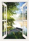 Artland Qualitätsbilder I Wandtattoo Wandsticker Wandaufkleber 50 x 70 cm Landschaften Gewässer Foto Grün C8UR Angelsteg am Fluss am Morgen Fensterblick