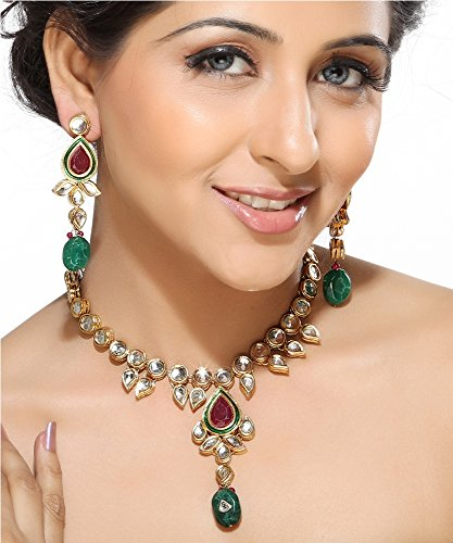 Aapno Rajasthan Teardrop Ruby and Emerald Beads Necklace Set  available at amazon for Rs.4195