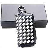 Semoss Echtleder Auto Schlüsseltasche Leder Universal Schlüsselanhänger Autoschlüssel Hülle Weiß Schwarz mit Weben Muster Schlüsselmäppchen Geldbörse 9.5 X 5.4 cm