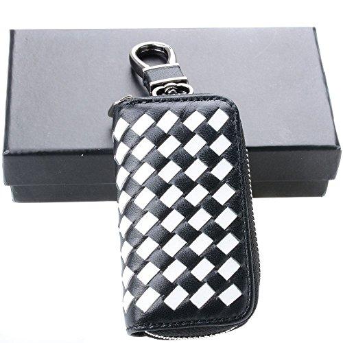 Semoss Echtleder Auto Schlüsseltasche Leder Universal Schlüsselanhänger Autoschlüssel Hülle Weiß Schwarz mit Weben Muster Schlüsselmäppchen Geldbörse 9.5 X 5.4 cm - Weben Muster