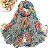 Qpw Schal, Seide Schal, Schal, Mode Dame geschreddert Gartenblumen umgeben 180 * 80cm
