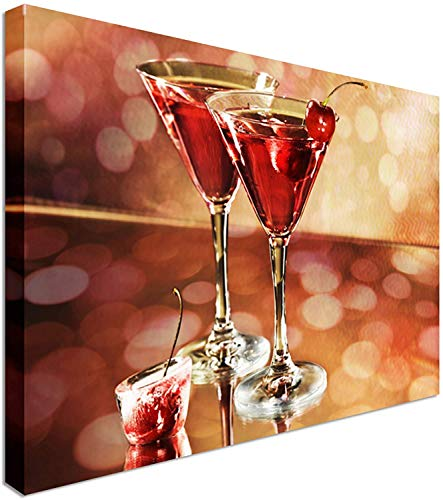 Yilooom Red Cocktail In A Martini Glass Canvas Wall Art Prints Canvas Wall Art Print - Long Lasting Wooden Frames - 28 x20 Inches