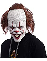 NUWIND Pennywise Masque Latex de Clown Effrayant Costume pour Cosplay, Déguisement, Halloween Accessoires Masque Facial pour Adulte