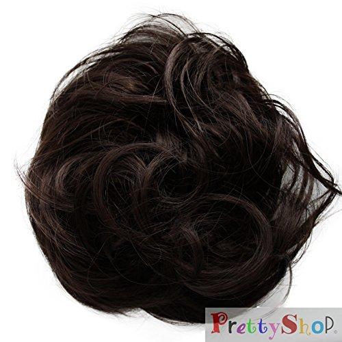 PRETTYSHOP Haarteil Haargummi Hochsteckfrisuren unordentlicher Dutt leicht gewell. Farbe: dunkelbraun G2B
