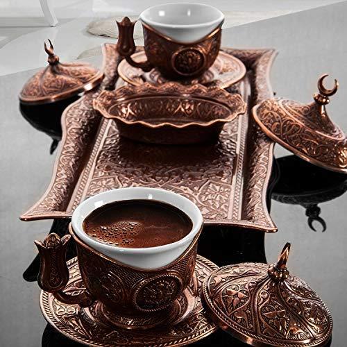 Sena osmanisch-türkisch-Kaffee-servier-Set Espresso-Latte-gaiwan-untertasse kupferfarben